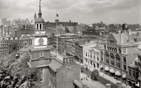 Картинка ретро, часы, башня, дома, США, Филадельфия, 1915-й год