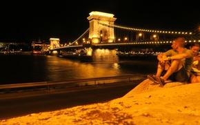 Картинка ночь, огни, река, опора, Венгрия, Будапешт, Дунай, Цепной мост