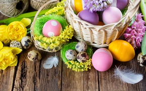 Картинка цветы, корзина, доски, яйца, Пасха, тюльпаны, spring, Easter, крашеные, eggs, basket, Holidays, гиацинты, tulip