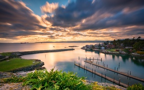 Картинка море, небо, облака, закат, побережье, корабли, вечер, Канада, British Columbia