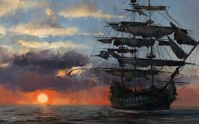 Картинка game, pirate, sunset, pirate ship, flag, ship, pirate flag, kaizoku, Skull and Bones