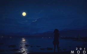 Картинка море, девушка, ночь, луна, moon2017