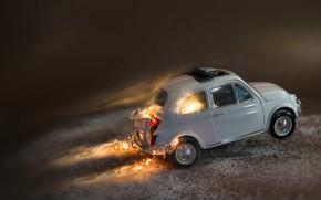 Обои огонь, Fiat 500, моделька, игрушка, макро, машинка
