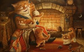 Картинка Сказочки кота Кузьмы, Александр Маскаев, арт, котята, детская, вечер, рисунок, камин, сказка, кот