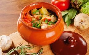 Картинка грибы, овощи, горшочек, жаркое
