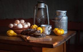 Картинка яйца, хлеб, кружка, тыква, натюрморт, бидон