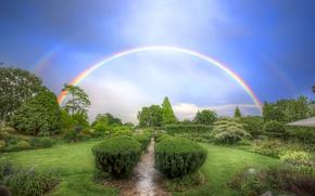 Картинка небо, деревья, газон, радуга, кустарник