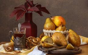 Картинка осень, стакан, чай, груши, сушки
