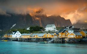 Картинка горы, город, дома, Норвегия, поселение, фьорд