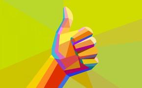 Картинка палец, жест, кулак, low poly, все хорошо