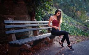 Картинка girl, Model, long hair, park, brunette, bench, t-shirt, sitting, pants, sneakers, strap, closed eyes, tank …