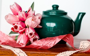 Картинка цветы, букет, чайник, тюльпаны, pink, romantic, tulips, spring, розовые тюльпаны
