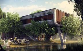 Картинка растительность, сооружение, мотоцикл, The Outpost, водоём