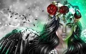 Обои розы, девушка, крылья, венок, ангел