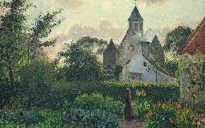 Картинка пейзаж, картина, сад, Камиль Писсарро, Церковь в Кнокке