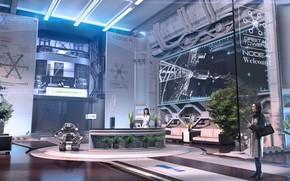Картинка робот, помещение, Igor Sobolevsky, Orbital Towers Node