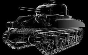 Картинка конструкция, механизм, детали, американский, Шерман, средний танк, основной