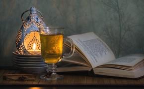 Обои бокал, книга, чай, свеча, аромолампа