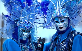 Картинка синий, Венеция, карнавал, маски, костюмы