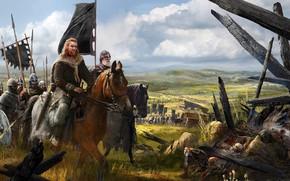 Обои оружие, лошадь, армия, доспехи, флаг, воин, поход, строй, отряд, знамя, Викинг