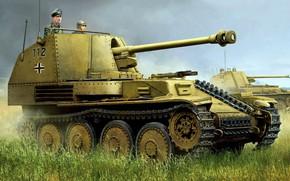 Обои истребитель танков, самоходная артиллерийская установка, времён Второй мировой войны, Третий рейх, Marder III, лёгкая по ...