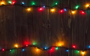 Картинка праздник, доски, Новый год, New Year, Гирлянда