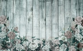 Обои винтаж, обои, wood, розы, ретро, цветы