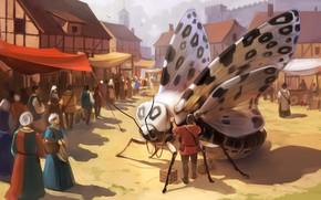Обои город, люди, фантазия, бабочка, крылья, арт, рынок