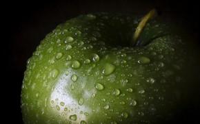 Картинка капли, зеленый, яблоко