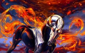 Картинка огонь, единорог, by Alaiaorax