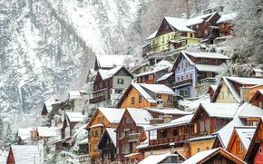 Обои зима, снег, деревья, скалы, дома, Австрия, Hallstatt