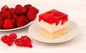 Картинка клубника, ягода, тарелка, сердечки, сладости, пирожное, красная, День святого Валентина, желе