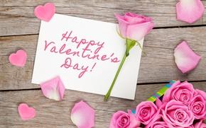 Обои розы, сердечки, love, wood, pink, romantic, hearts, sweet, gift, petals, roses, valentine`s day