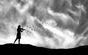 Картинка девушка, ноты, скрипка, силуэт
