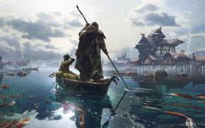 Картинка лодка, поселение, Fishing Village, Fall Of Gods