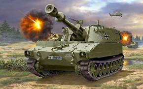 Обои САУ, самоходная гаубица, Бундесвер, M109, Bundeswehr, вооружённые силы Германии, 155mm, Self-Propelled Howitzer, американская самоходная артиллерийская ...