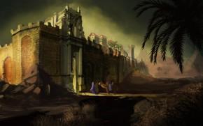 Картинка горы, пальмы, верблюд, крепость, The Wall
