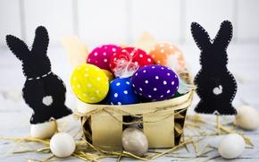 Картинка colorful, Пасха, happy, spring, Easter, eggs, holiday, bunny, яйца крашеные