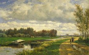 Обои Виллем Рулофс, картина, масло, холст, Пейзаж в Окрестностях Гааги