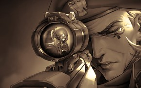 Обои снайпер, Widowmaker, прицел, Overwatch, game art, Absurdres Ana, Amelie Lacroix