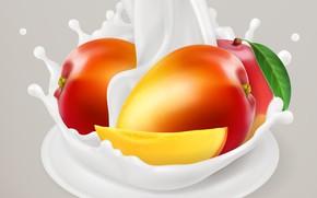 Картинка фон, молоко, листик, манго