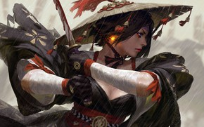 Картинка girl, sword, blood, fantasy, rain, weapon, hat, blue eyes, short hair, katana, lips, face, painting, ...