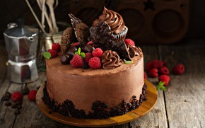 Картинка ягоды, малина, торт, украшение, крем, кекс, шоколадный торт