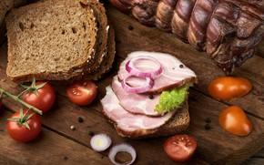 Картинка лук, хлеб, мясо, помидоры, ветчина