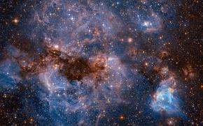 Обои космос, звезды, НАСА, Большое Магелланово Облако, фото с Хаббл, карликовая галактика типа SBm, спутник Млечного ...
