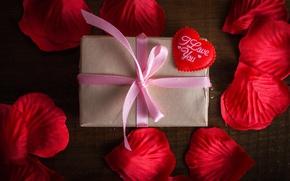 Картинка лепестки, сердечки, red, love, heart, romantic, gift, roses, valentine`s day