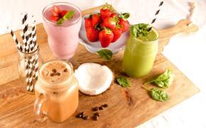 Обои ягоды, кофейные зёрна, кокос, смузи, напитки, клубника