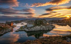 Картинка небо, закат, озеро, скалы, домик, Norway, Bjоrkeland, Bjоrn Peder