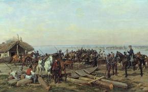 Картинка лодка, масло, кони, Холст, 1880, Павел КОВАЛЕВСКИЙ, Переправа через Дунай