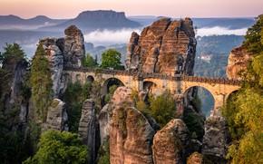 Картинка пейзаж, горы, мост, природа, скалы, растительность, Германия, Саксонская Швейцария, массив, Bastei, Бастай